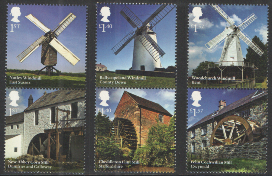 SG TBC 2017 Windmills & Watermills unmounted mint set of 6